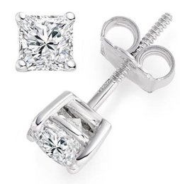 Wholesale real gold earrings 14k - 1 ct Princess Cut Solitaire Stud Earrings Solid 14k Real White Gold Screw Back