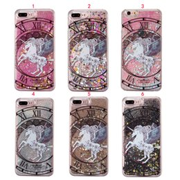 Wholesale Purple Unicorns - Unicorn Horse Quicksand Dynamic Liquid Phone Case For Iphone 7 7 6S 6 Plus SE 5 5S 5C Gliter Back Cover Hard PC Case Fundas