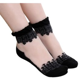 Wholesale Hot Womens Transparent Black - Wholesale-2015 Hot Sale, Summer Womens Fashion Socks Ultrathin Crystal Transparent Beautiful Crystal Lace Elastic Short Socks Promotion