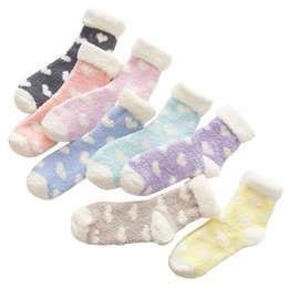Wholesale Socks For Sleep - Wholesale- Flanging Love Design Fluffy Coral Velvet Thick Warm Socks For Women Kawaii Colorful Fashion Winter Towel Floor Sleep Female Sock