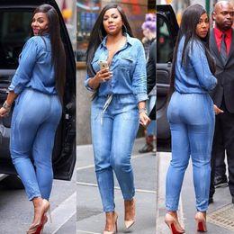 Wholesale Denim Women Jumpsuit - New African Women's Bodycon Jumpsuit Long Sleeve Jeans Denim Rompers Overalls Trousers Pants Women Casual Dress FS1496