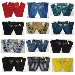 Wholesale Zipper Ornament - 2017 New Robin Jeans Senior designer brand Bicycle mens robin jeans high quality Rhinestone ornament fashion Straight jeans size 32-42