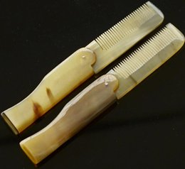 Wholesale Natural Horn Hair Comb - Engraved Your Logo Foldable Horn comb Portable Folding Comb Anti-Static Hairbrush Handmade Natural Ox Horn Combs Styling Tools