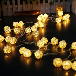Wholesale Use Ball Lamp Light - Wholesale-40 80LED Ball String Christmas light Party and Holiday Light Wedding decoration Fairy Lights use dry battery branch rattan lamp