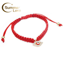 Wholesale Evil Eye Bracelet Colors - Wholesale-High Quality Turkish Lucky Evil Eye Bracelets For Women 3 Colors Handmade Braided Rope Lucky Jewelry Red Thread Bracelet Female