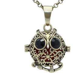"Wholesale Bronze Owl Locket Necklace - Wholesale Antique Bronze Owl Flower Hollow Locket Aromatherapy Fragrance Essential Oil Diffuser Openable Pendant 30"" Chain Necklace Jewelry"