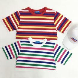Wholesale funny korean t shirts - Wholesale- harajuku shirt womem 2016 summer style new funny t shirts rock korean tops women rainbow stripes spell color cute t-shirt womem