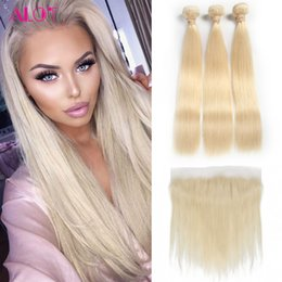 Wholesale Blonde Brazilian Weave - 613 Blonde Bundles Brazilian Virgin Hair 613 Blonde Straight Human Hair Weave 3 Bundles With Lace Frontal 13*4 Lace Frontal Ear To Ear