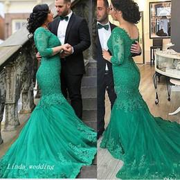 Wholesale coral colour dresses - New Arrival Green Colour Evening Dress Arabic Dubai Mermaid V Neck Floor Length Long Sleeves Mother's Dress Party Gown Plus Size