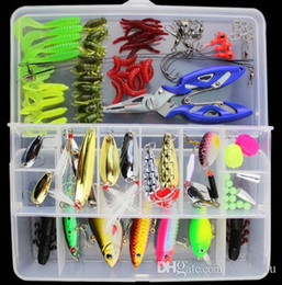 Wholesale Hard Plastic Boxes - 101pcs Fishing Lure Box Set Including Plastic Soft Frog Spoon Hard Lures Popper Crank Rattling Trout Bass Salmon out226