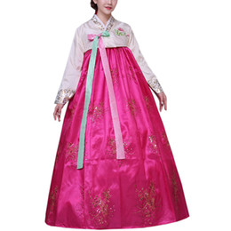 Wholesale Korean Tops Dresses - FASHION Women's Korean Embroidered Traditional Hanbok Long Sleeve Hanboks Dress Cosplay Costume TOP+SKIRT 4 COLORS Free Shipping