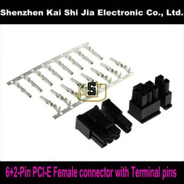 Wholesale 2pin Cable - Wholesale- Free shipping 50sets 6+2Pin Female PCI-Express PCIe Connector with 400PCS Terminal pins Plug - Black