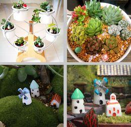 Wholesale House Figurines - Artificial Fairy Garden Miniatures Mini Gnomes Moss Terrariums Resin Crafts Figurines Mini Garden Decoration Tiny House Castle Home Decor