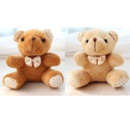 Wholesale Small Bear Gifts - Wholesale- 30Pcs Lot Kawaii Small Joint Teddy Bears Stuffed Plush With Bow 10CM Toy Teddy-Bear Mini Bear Ted Bears Plush Toys Gifts 078