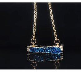 Wholesale Brilliant Necklace - New fashion Brilliant Stone Resin Druzy Pendant Necklace Gold Zinc Alloy Chain Irregular Pendant Women Party Jewelry Christmas Gift A303