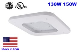 Wholesale Warehouse Usa - DLC UL 150W Gas Station lighting LED Canopy light Commerical lighting Ceiling light Meanwell driver 90-277V 110lm W 5000K stock in USA