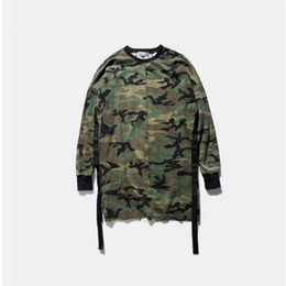 Wholesale camouflage shirt long sleeve - Long sleeve men top tee tshirt t-shirt t shirt kanye west camo camouflage hip hop swag skate tyga