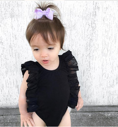 Wholesale Black Baby Onesies - hot baby onesies Summer Ruffle Sleeve Girls Romper Cotton Patchwork Cotton Girls jumpsuit Fashion boutique Infant Clothing C033