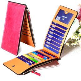 Wholesale Cowhide Clutches - New Fashion Money Clips Quality Cowhide Cards holder Clutch Zipper Card Bag Women's Multi-card Wallet Women's Thin Long Men's Purse