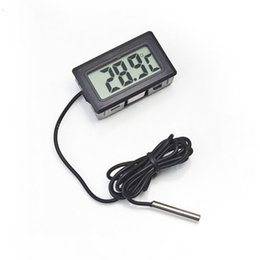 Wholesale Tank Thermometer - WINYS Electronic Digital Embedded Thermometer Data Display Fish Tank Fefrigerator Waterproof Probe Black White LCD Mini Thermometers 3 7ys R