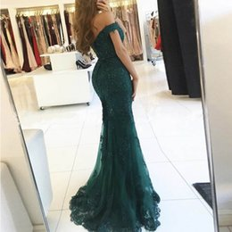Wholesale Sweetheart Sequin Ruched - Dark Green Mermaid Evening Dresses 2018 Sweetheart Off Shoulder Appliques Sequins Beaded Tulle Mermaid Prom Dresses Sweep Train
