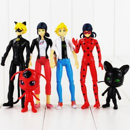 Wholesale Finish Cat - 6pcs lot Ladybug Adrien Noir Agreste Cat PVC Action Figure Doll Collection Model Toys For Kids Christmas Gift