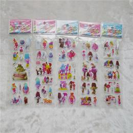 Wholesale Children Christmas Sticker - .Trolls Poppy Sticker 3D Cartoon Pattern Children School Reward Wall Desk Stickers Scrapbook Children Toys Stickers kids Gift toys WD057
