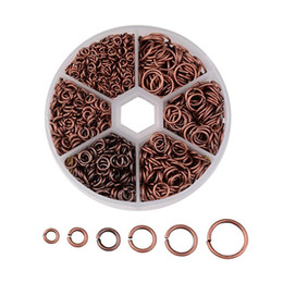 Wholesale Antique Copper Jump Rings - 1745pcs box Mix Sizes 4~10x0.7-1mm Iron Jump Rings for DIY Metal Jewelry Findings Nickel Free Red Copper  Antique Bronze
