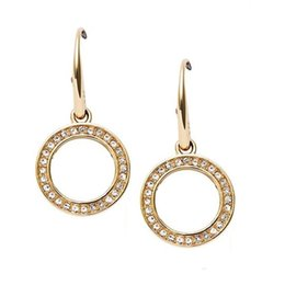 Wholesale Girl Earrings - New York Fashion Brand drop earrings Crystal hoop earings brand Jewelry wedding jewellery for women girls Silver Gold Rose
