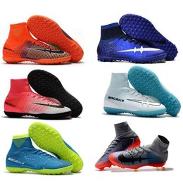 Wholesale Childrens Boots Boys - Childrens Soccer Shoes Kids Soccer Cleats CR7 Cristiano Ronaldo Mens Mercurial Superfly FG TF High Top Youth Boys Football Boots Womens Turf
