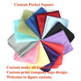 Wholesale Advertising Pictures - Man pocket square wedding business suit chest towel pure polyester silk handkerchief customized picture design advertising gift