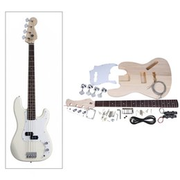 Wholesale Electric Jazz Bass String - Wholesale-4-String Electric Bass DIY Kit Set Solid Basswood Body Maple Neck Rosewood Fingerboard JAZZ Bass Style