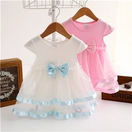 Wholesale Mandarin Collar Lace Dress - NewBorn Baby Dress Summer Cotton Bow Baby Rompers For girls Summer Kids Infant Clothes Baby Girls Jumpsuit LC452