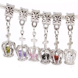 Wholesale Crown Charms 3d - Wholesale- 1pcs Silver Plated Bead 3D Hollow Out Crown Charm Crystal European Style Beads Fit DIY Bracelets Necklaces Pendant Making JPP09