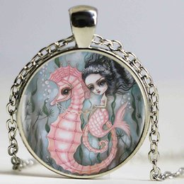Wholesale Crystal Mermaid Necklaces - Pink Hippocampus And Mermaid Heartshaped Bronze Plated Pendant Necklace Hippocampus Mermaid Vintage Necklace Jewelry Friend Gift