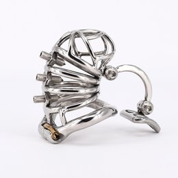 Wholesale Cages For Cocks - Chastity Cage Stainless Steel Cock Cage with Removable Spikes and Massage Stimulate Device Sex Toys For Men
