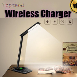 Wholesale Modern Iphone - Iphone 8 Wireless Charger Pad Desk Top LED Lamp Touch Dimmer With Wireless Charging And USB 2.0 Charge 4 Color Light Foldable
