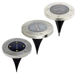 Wholesale Ground Solar Led Lights - Solar Powered Underground lighting Lamp 2 3 4 leds Round Ground Waterproof Garden Yard Road Lawn Path Lamp