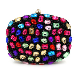 Wholesale Day Bag Beading - Wholesale- New Design Evening Bag Green Stone Crystal Luxury Day Clutch Bag Diamond Ladies Handbags Beaded Party Purse Bride Wedding Bag