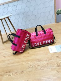 Wholesale Love Pink Large - Fashion Pink Letter Handbags Secret Shoulder Bags Women Love Large Capacity Travel Duffle Striped Waterproof Beach Bag Shoulder Bag