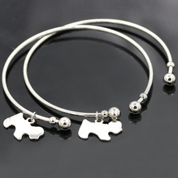 Wholesale Hot Dog Bar - Wholesale- 2016 Hot New Simple Silver Gold Love Dogs Charm Pendant Opening Cuff Bracelet Carter Bangle Jewelry Women Girls BR062