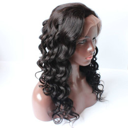 Wholesale Virgin Hot Full - Hot!! Fashion Side Part indian Virgin Hair Body Wavy Wigs Glueless Lace Front Human Hair Wigs with Baby Hair Full Lace Wigs