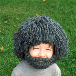 Wholesale Wigs Boy - Kids Winter Knit Warm Handmade Wig Beard Hats Hobo Mad Scientist Rasta Caveman Halloween Caps Gift Funny Party Mask Beanies free shipping