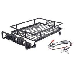 Wholesale Luggage Racks For Cars - 1pcs 1 10 RC Black Roof Luggage Rack with 4 LED Light Bar for 1:10th RC Vehicles RC Crawler Car Tamiya CC01 RC4WD D90 SCX10 AXAIL