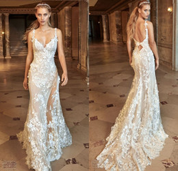 Wholesale Gorgeous Mermaid Beach Wedding Dresses - 2017 Gorgeous Mermaid Wedding Dresses Sexy Sheer See-through Backless Bridal Gowns Full Floral Lace Wedding Dress Vestidos De Noiva