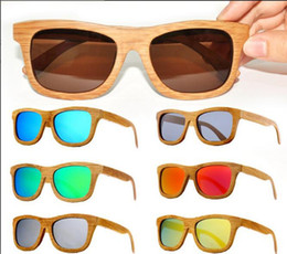 Wholesale High End Bamboo - 2017 New Fashion High-end Customized Bamboo Glasses Coating Film Piece Sunglasses 100% Radiation protection Multi-color optional