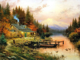 Wholesale High Quality Wall Paintings - Thomas Kinkade Landscape Oil Painting Reproduction High Quality Giclee Print on Canvas Lakeside hut Modern Home Wall Art Decor Gift