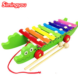 Wholesale Kids Wooden Piano Musical Toys - Simingyou Crocodile Xylophone Knock On Piano Baby Kids Wooden Toddler Learning Education Musical Toy MZ03