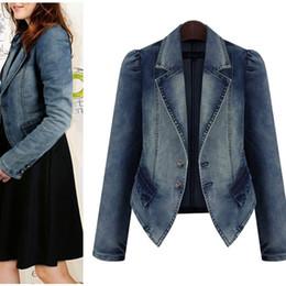 Wholesale Womens Puff Jackets - Autumn and Spring Denim bomber jacket women fashion large size fat womens denim jacket plus size coat was thin jackets for women