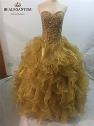 Wholesale Gold Sweet 16 - 2017 Sexy Fashion Gold Crystal Ball Gown Quinceanera Dresses with Beading Sequined Organza Sweet 16 Dresses Vestido Debutante Gowns BQ28